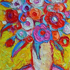 Ana Maria Edulescu - Impasto Spring Flowers Abstract Colorful Impressionist Palette Knife Oil Painting Ana Maria Edulescu