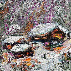 Impressionism Winter Cabins by Ginette Callaway