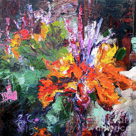 Impressionist Canna Flower Oil Painting  by Ginette Callaway