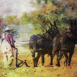 Impressionist Plowing With Mules 5630 Idp_2 by Steven Ward