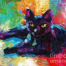 Svetlana Novikova - Impressionistic Black Cat painting 2