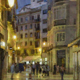 Impressions Of Malaga At Night by Mary Machare