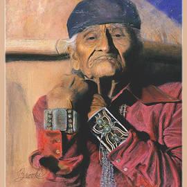 In Beauty I Walk - Soft Pastel - Native American Art - Original Art with Border and Title by Brooks Garten Hauschild