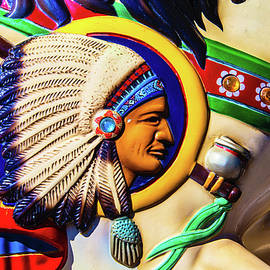 Indian Head On Carrousel Horse - Garry Gay