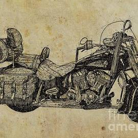 Indian Motorcycle on vintage background, gift for bikers, man cave decoration
