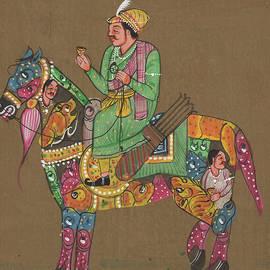 Rajkumar Sharma - Indian Royal King Maharaja Savari On Artistic Beautiful Horse Indian Miniature Watercolor Malerei