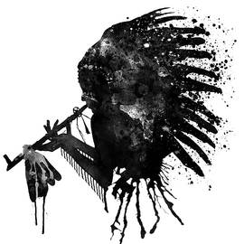 Indian with Headdress Black and White Silhouette by Marian Voicu