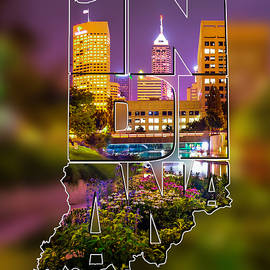 Gregory Ballos - Indiana Typographic Blur - Downtown Indianapolis Skyline At Night - United States Artwork