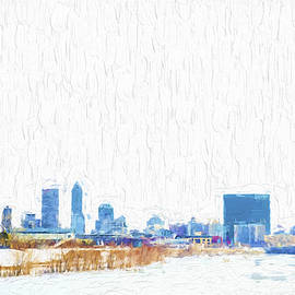 Indianapolis Indiana Skyline Creative Blue by David Haskett II