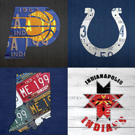 Indianapolis Indiana Sports Team License Plate Art Collage Map Pacers Colts Indians - Design Turnpike