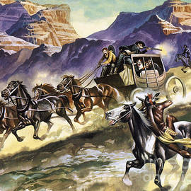 Indians attacking a stage coach - Ron Embleton