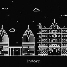 Indore Skyline Travel Poster - Inspirowl Design