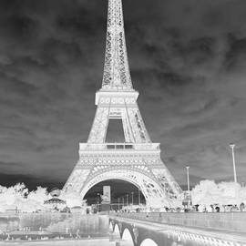 Infrared Eiffel Tower Black and White by Carol Groenen
