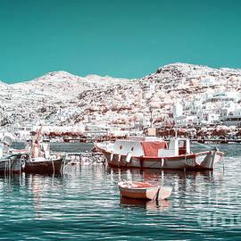 Infrared Port Boats In Mykonos by John Rizzuto