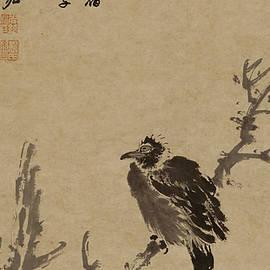 asian art - Ink painting Branch bird