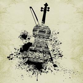 Inked Violin Sepia by Barbara St Jean