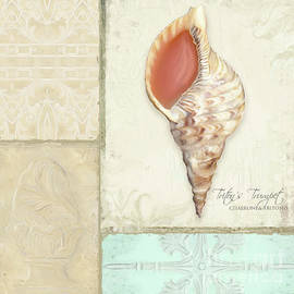 Inspired Coast Collage - Triton's Trumpet Shell W Vintage Tile  by Audrey Jeanne Roberts