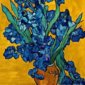Interpretation of Vase with Irises Against a Yellow Background