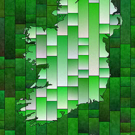 Eleven Corners - Ireland Map Glasa in Green and White