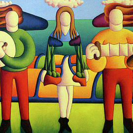 Alan Kenny - Irish Dancer with musicians in soft landscape
