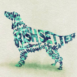 Irish Setter Watercolor Painting / Typographic Art - Ayse and Deniz