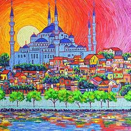 Ana Maria Edulescu - Istanbul Blue Mosque Sunset Modern Impressionist Palette Knife Oil Painting By Ana Maria Edulescu