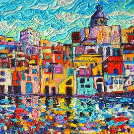 Italy Procida Island Marina Corricella Naples Bay Palette Knife Oil Painting By Ana Maria Edulescu by Ana Maria Edulescu