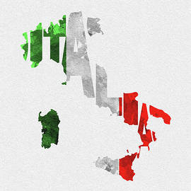 Italy Typographic Map Flag by Inspirowl Design