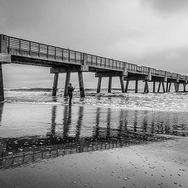 Jacksonville Pier in the Fog at Sunrise in Black and White by Debra and Dave Vanderlaan