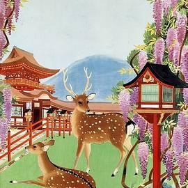 Japanese Garden with Spotted Deer and Violet Blossoms - Vintage Travel Poster - Landscape - Studio Grafiikka