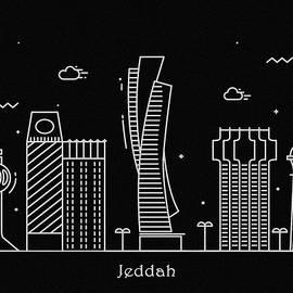 Inspirowl Design - Jeddah Skyline Travel Poster