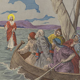 French School - Jesus Christ walking on the waters