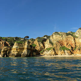 Georgia Mizuleva - Jewel Toned Ocean Art - Sailing by Algarve Cliffs and Beaches