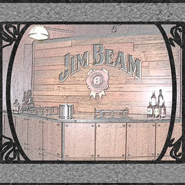 Marian Bell - Jim Beam Tasting Area in Black Pencil With Border and Framing
