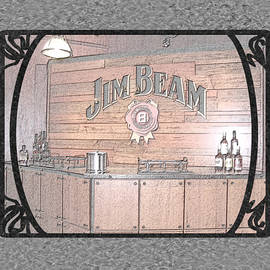Marian Bell - Jim Beam Tasting Area in Black Pencil With Border