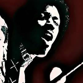 Jimi Hendrix - Graphic Art Red by Ian Gledhill