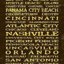 John Stephens - Jimmy Buffett Margaritaville Locations Embossed Yellow On Brown Texture
