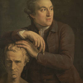 Joseph Nollekens with His Bust of Laurence Sterne - John Francis Rigaud