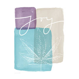 Joy Cannabis Leaf Watercolor- Art by Linda Woods - Linda Woods