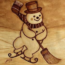 Joyful Snowman  Coffee Paintings by Georgeta  Blanaru