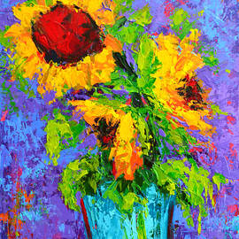 Joyful Trio - Sunflowers Still Life - Modern Impressionistic Art - Palette Knife by Patricia Awapara