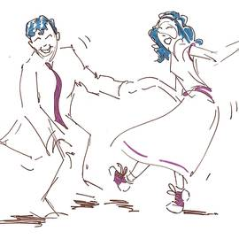 Jump To The Beat - Classic Rock And Roll Jive Dancers Illustration  by Mike Jory