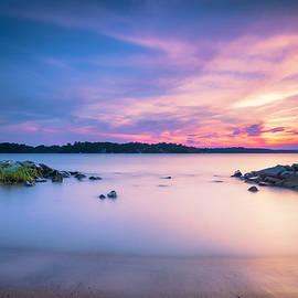 June sunset on the river by Edward Kreis