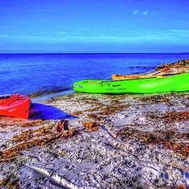 Kayaks On The Beach by John Myers