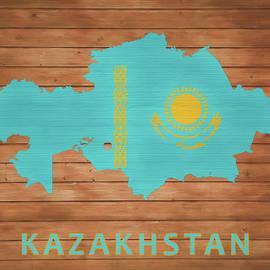 Dan Sproul - Kazakhstan Rustic Map On Wood