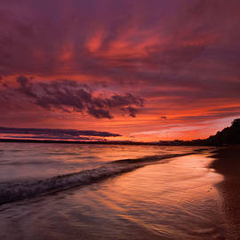 Kelly Beach September Sunset by Ron Wiltse