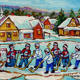 Kids Playing Hockey On Frozen Pond Cozy Country Village Scene Canadian Landscape Painting C Spandau  by Carole Spandau