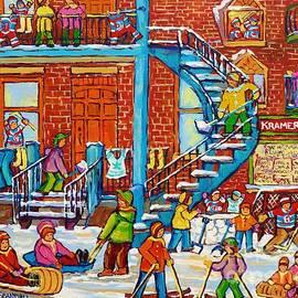 Kids Winter Playground Kramer's Grocer Street Scene Toboggan Skiiers Hockey Art Canadian Paintings   by Carole Spandau