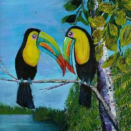 Kissing toucans by Jean Fassina