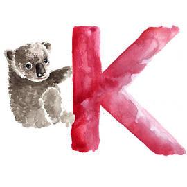 Koala Watercolor Alphabet Poster by Joanna Szmerdt